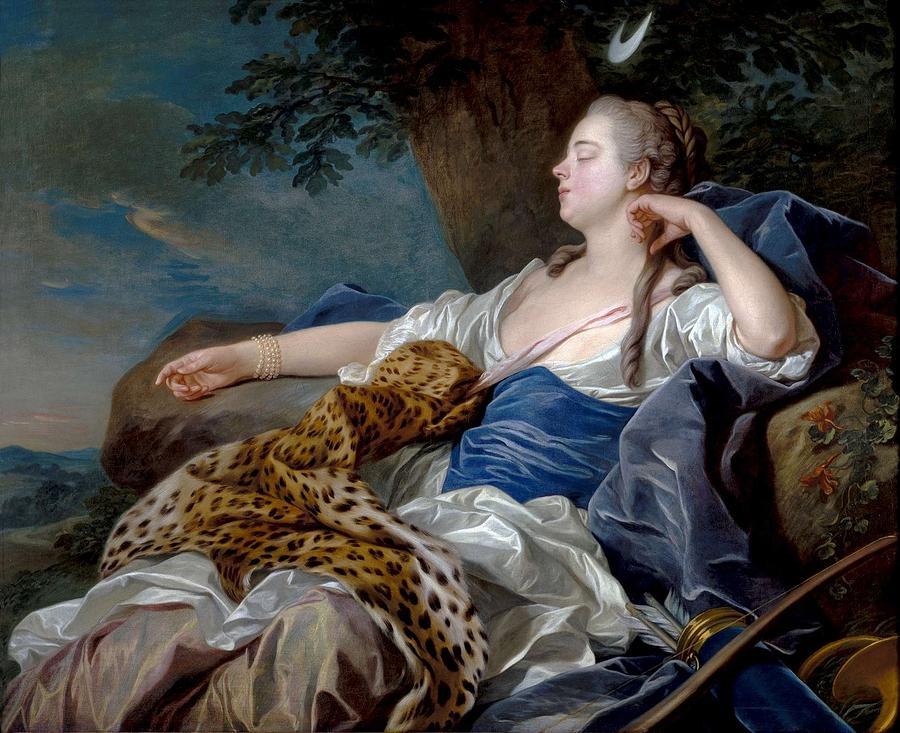 Girl Painting - Loo, Louis-michel Van Tolon, 1707 - Paris, 1771 Diana In A Landscape 1739 by LOO LOUIS-MICHEL VAN Tolon