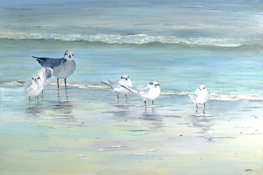Gulls Painting - Lookin by Kathie Henry