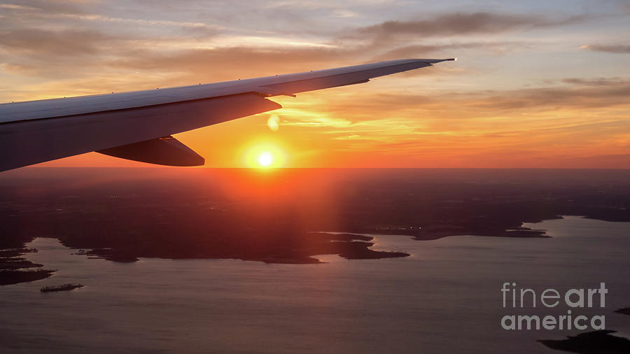 Bridge Photograph - Looking At Sunset From Airplane Window With Lake In The Backgrou by PorqueNo Studios