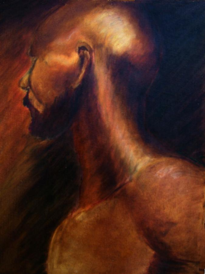 Model Painting - Looking away by Janine Shideler