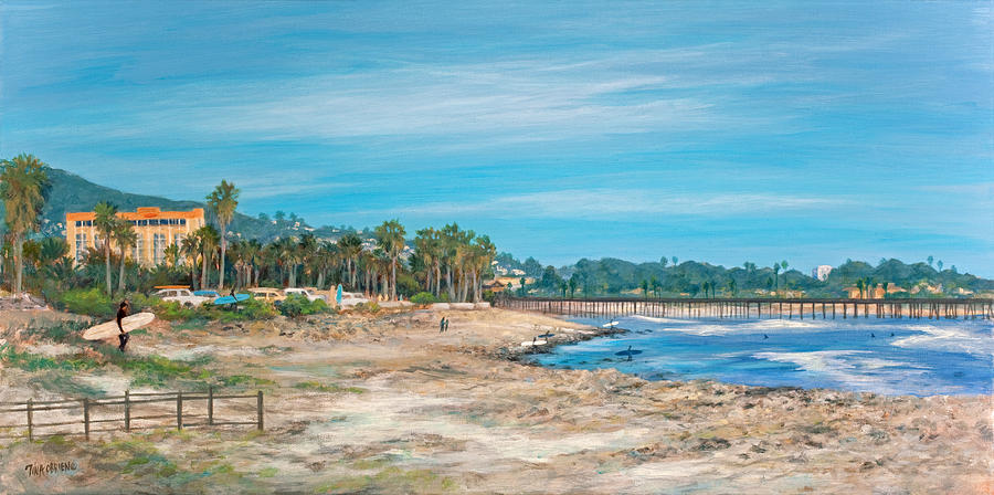 Ventura Painting - Looking Back At Surfers Point by Tina Obrien