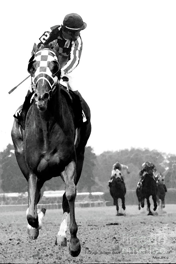 Looking Back Mixed Media - Looking Back, 1973 Secretariat, Stretch Run, Belmont Stakes by Thomas Pollart