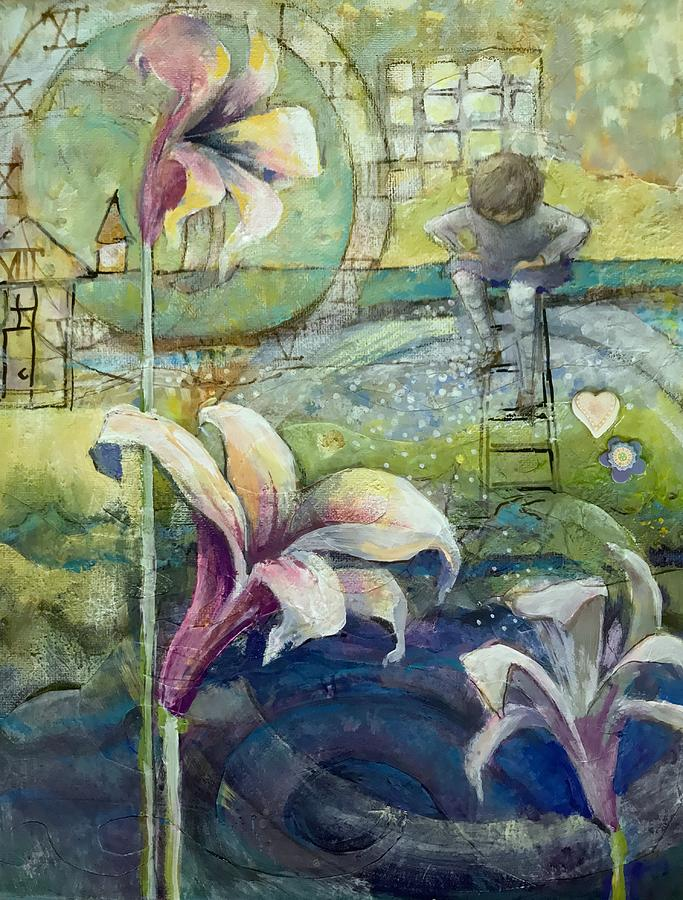 Whimsical Mixed Media - Looking Deeper by Eleatta Diver