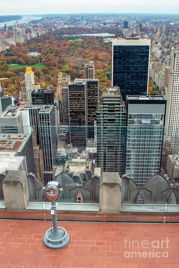 Empire State Building Photograph - Looking Down At New York Central Park Surounded By Buildings by PorqueNo Studios