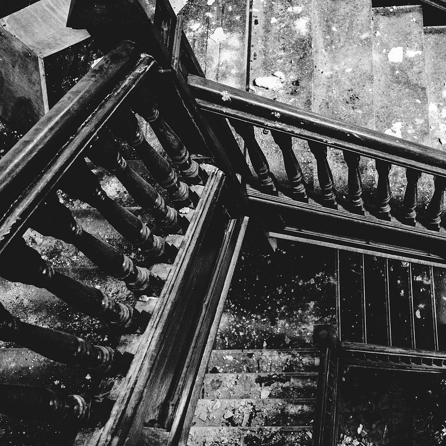 Abandoned Photograph - Looking Down Old Staircase by Dylan Murphy