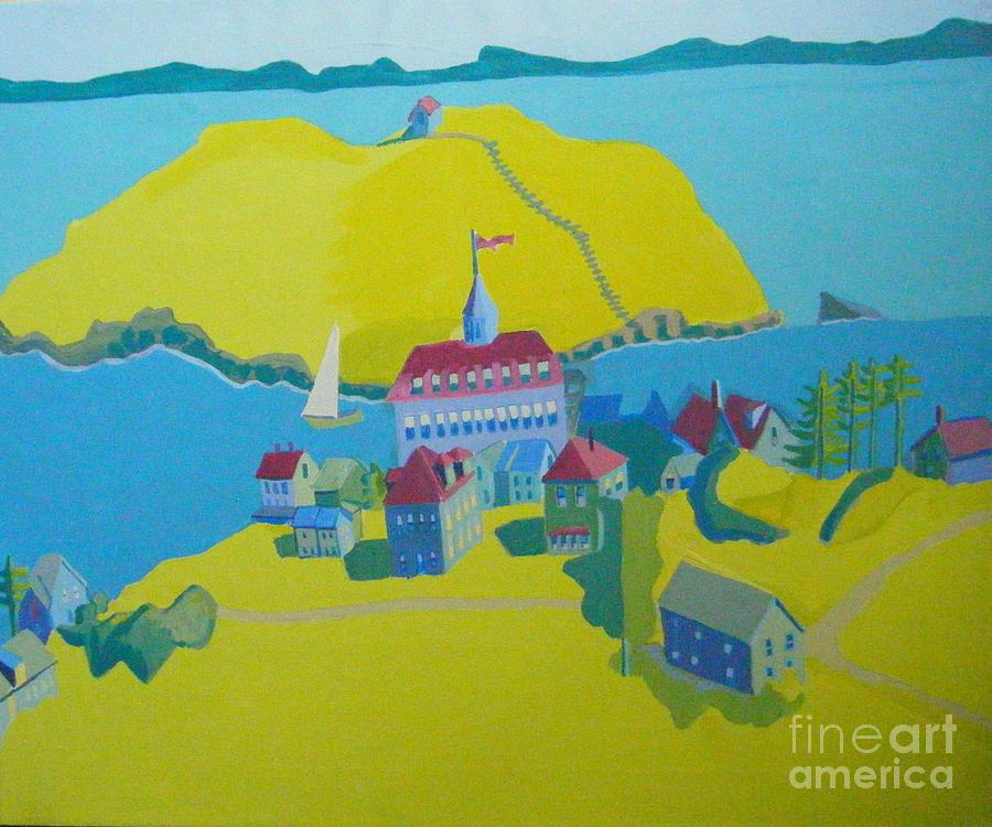 Maine Painting - Looking Down On Monhegan And Manana Islands by Debra Bretton Robinson