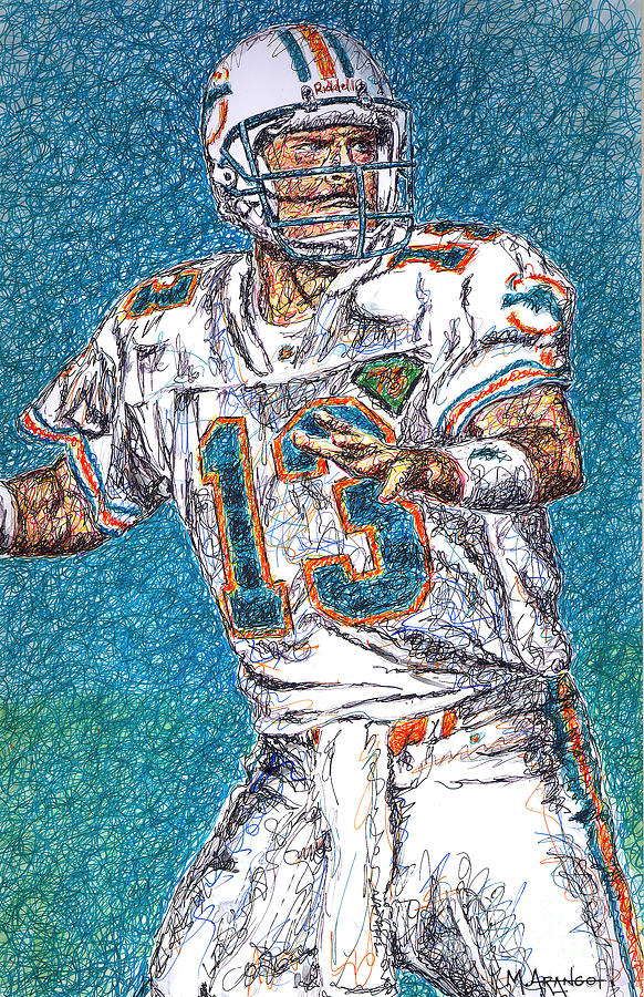 Dan Marino Drawing - Looking Downfield by Maria Arango
