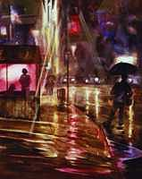 Night Painting - Looking for a Taxi by Ed  Slack