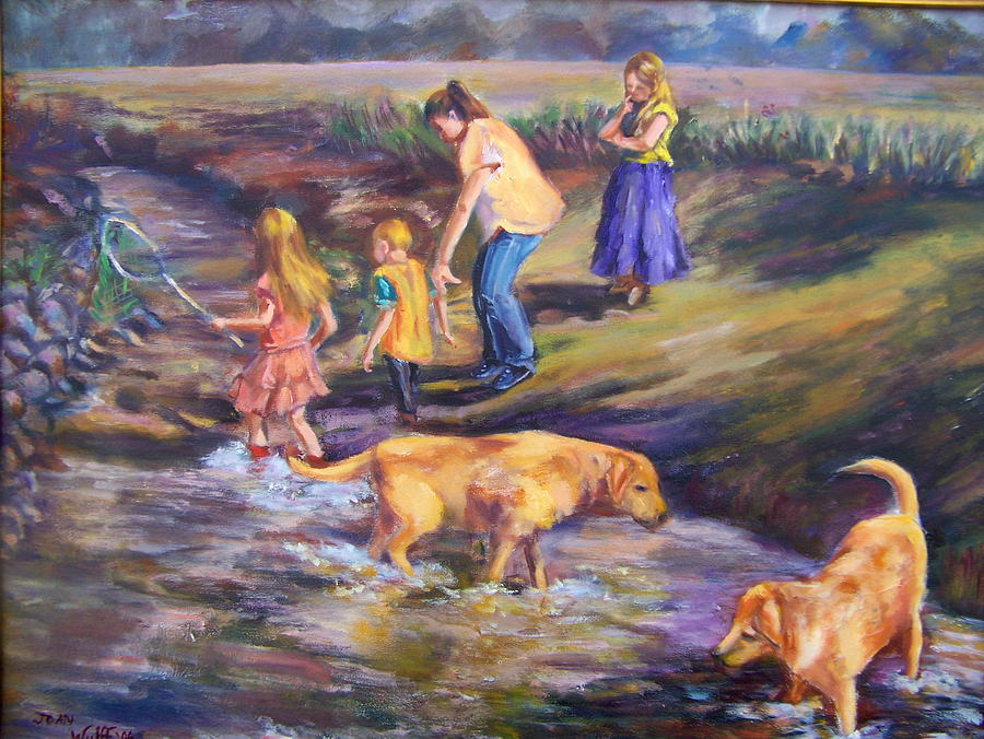 Children Painting - Looking For Fish by Joan Wulff