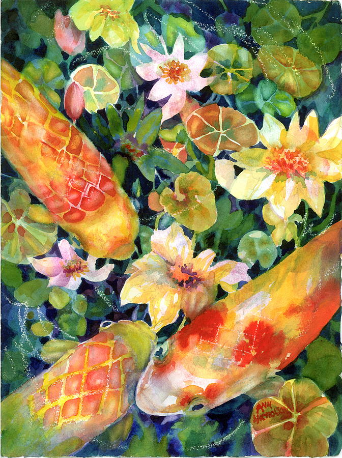 Koi In Pond Painting - Looking For Lunch II by Ann  Nicholson