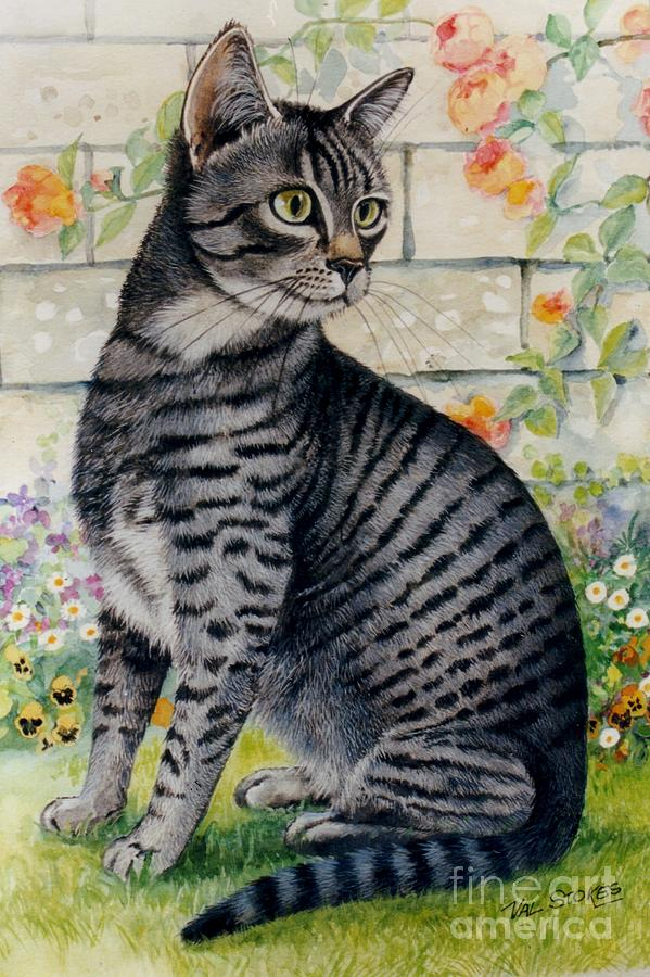 Cat Painting - Looking For Mum by Val Stokes