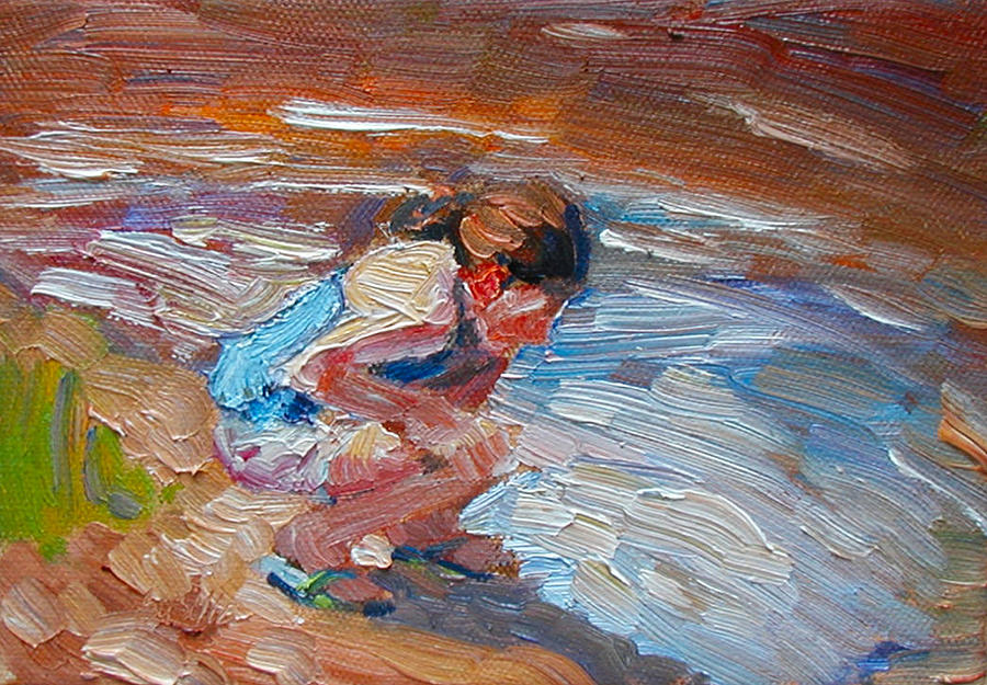 Child Painting - Looking for Pollywogs by Kathy Busillo
