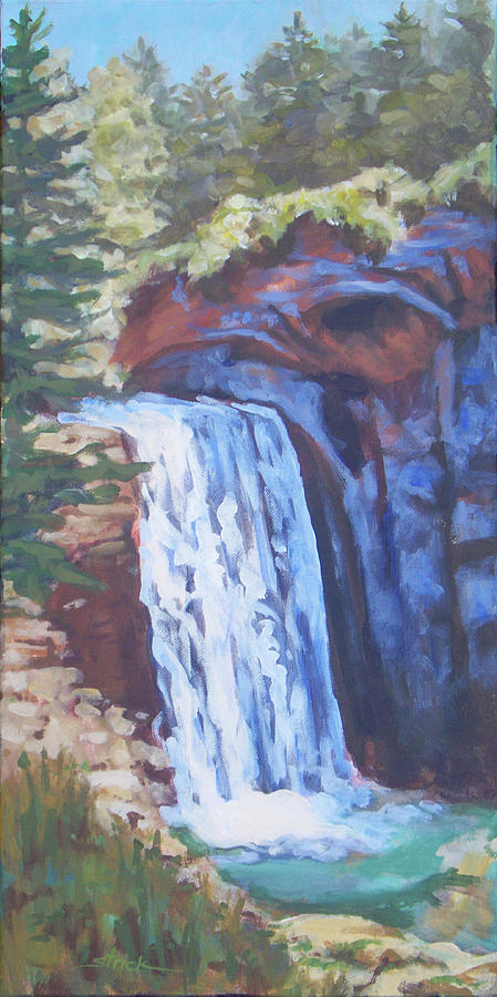 Waterfall Painting - Looking Glass Falls by Carol Strickland