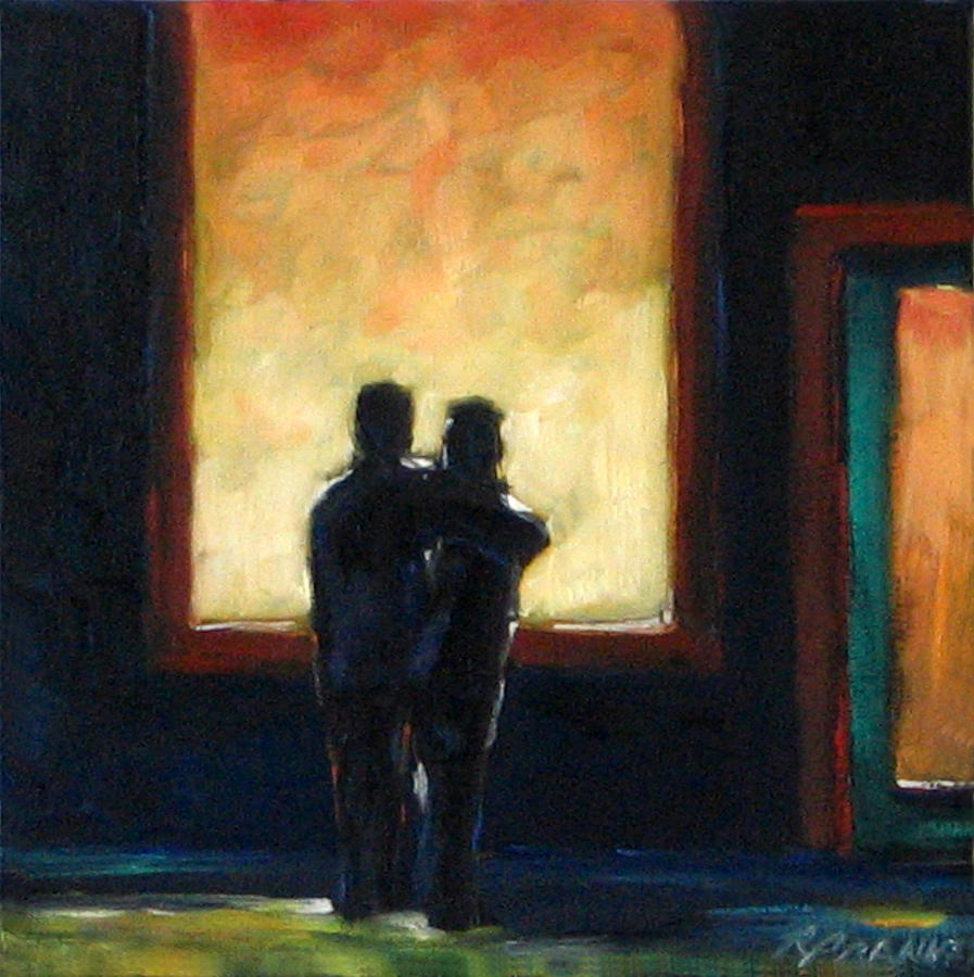 Town Painting - Looking In Looking Out Mini by Richard T Pranke