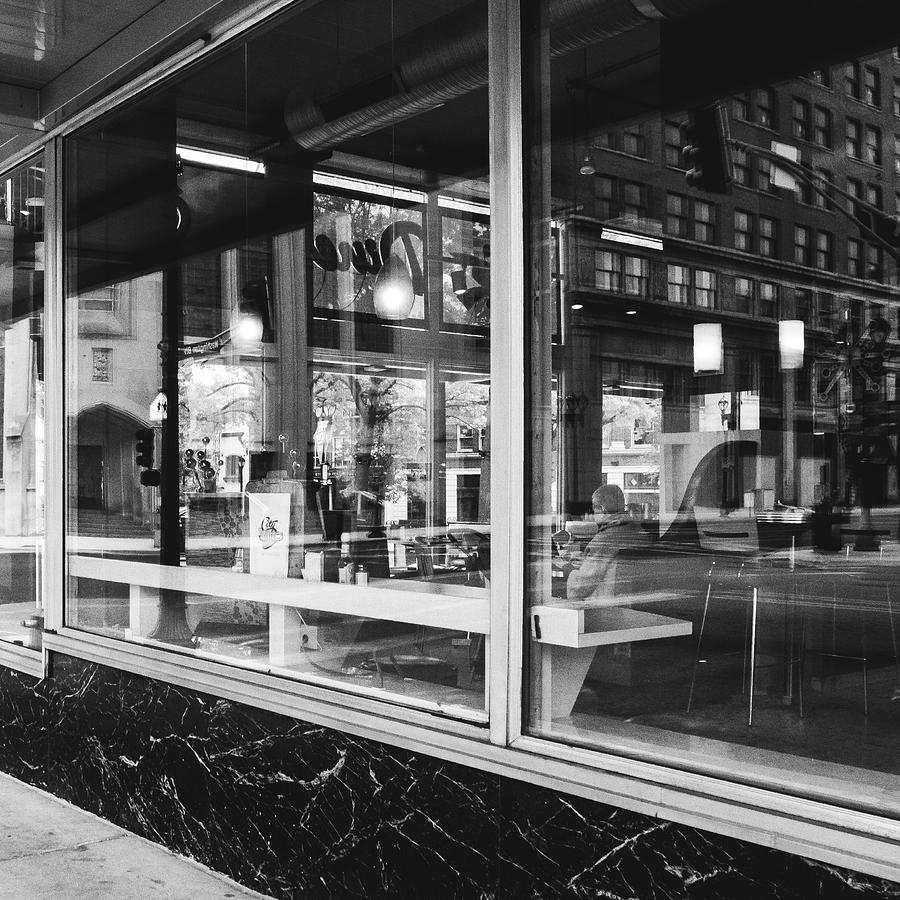 Street Photograph - Looking Into A Diner. Black And White Street Photography. by Dylan Murphy