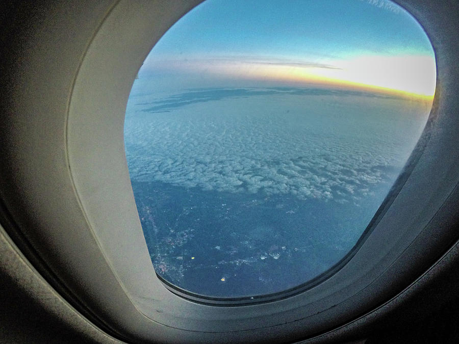 Looking Out Of Airplane Window During Flight Photograph By Alex