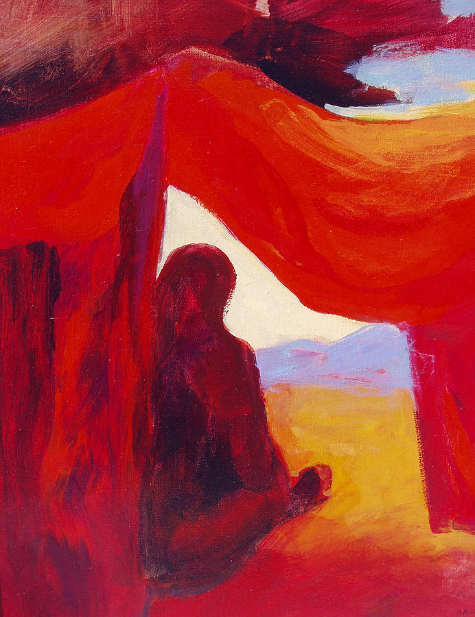 Red Tent Painting - Looking Out Of The Red Tent by Renee Kahn