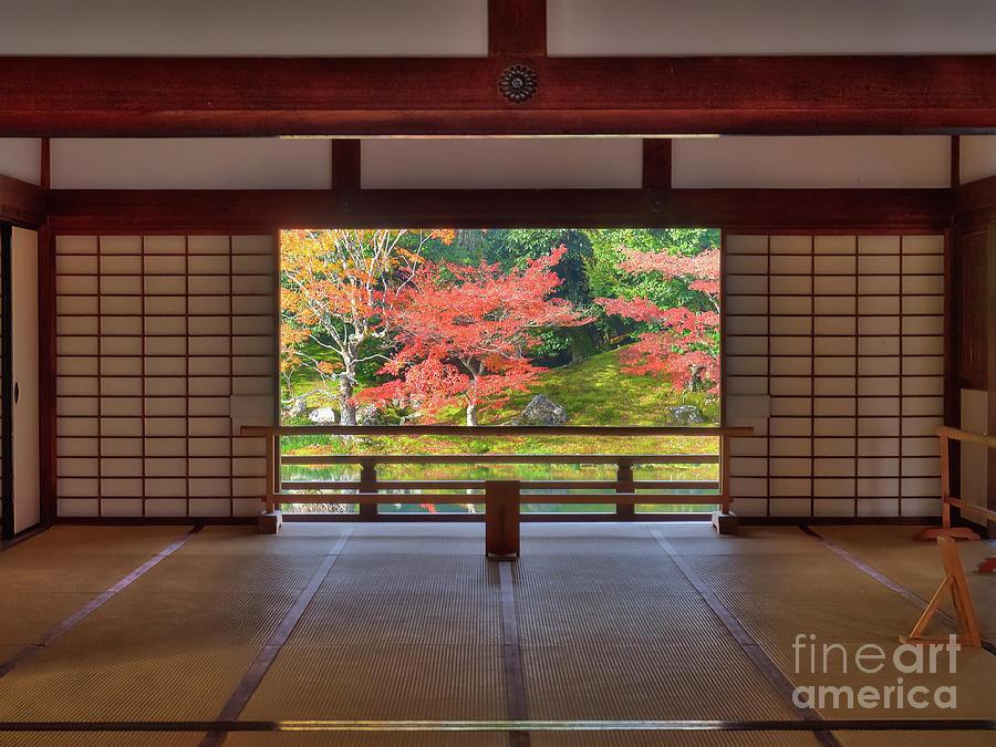 Arashiyama Photograph - Looking out onto the autumn colors of Sogen Garden, Tenryu ji Temple, Arashiyama, Kyoto, Japan by Mark Carnaby