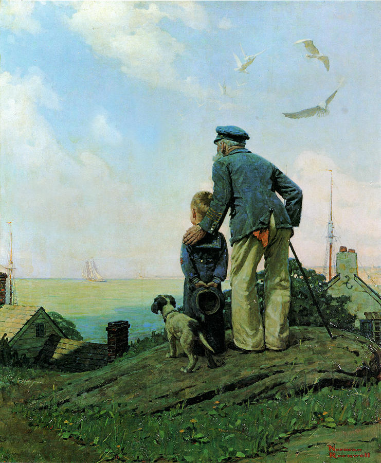 5421db01579 Looking Out To Sea by Norman Rockwell