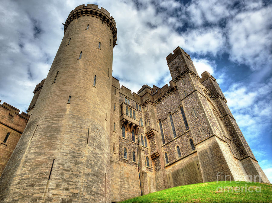 Arundel Castle Photograph - Looking up at Arundel Castle with its turrets reaching the skies by Mark Carnaby