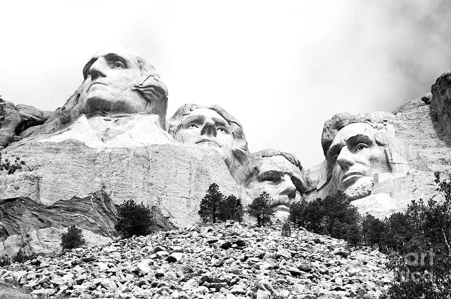 South Dakota Photograph - Looking Up At Mount Rushmore National Monument South Dakota Black And White by Shawn OBrien