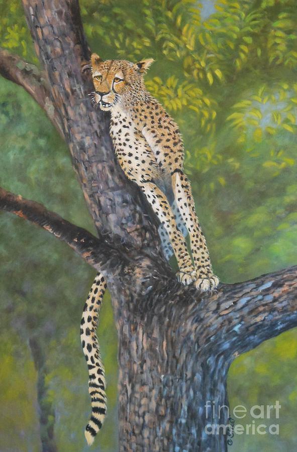 Cheetah Painting - Lookout by Caroline Street