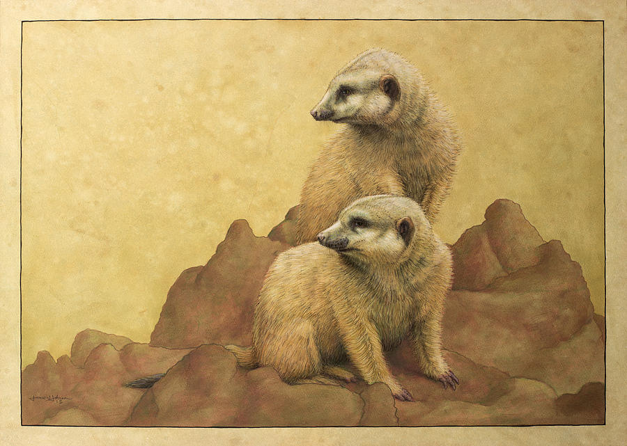 Meerkats Painting - Lookouts by James W Johnson
