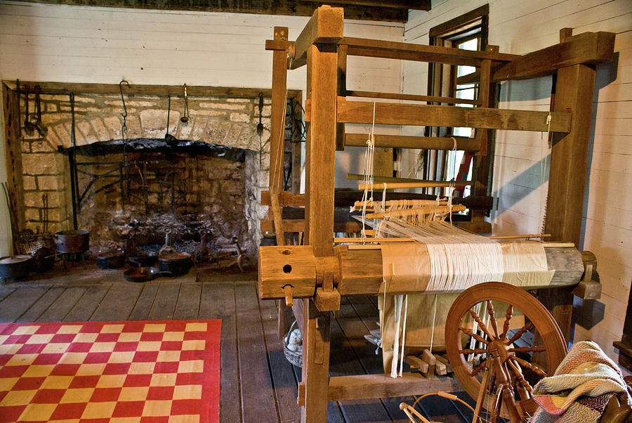 Loom Photograph - Loom And Fireplace In Settlers Cabin by Douglas Barnett