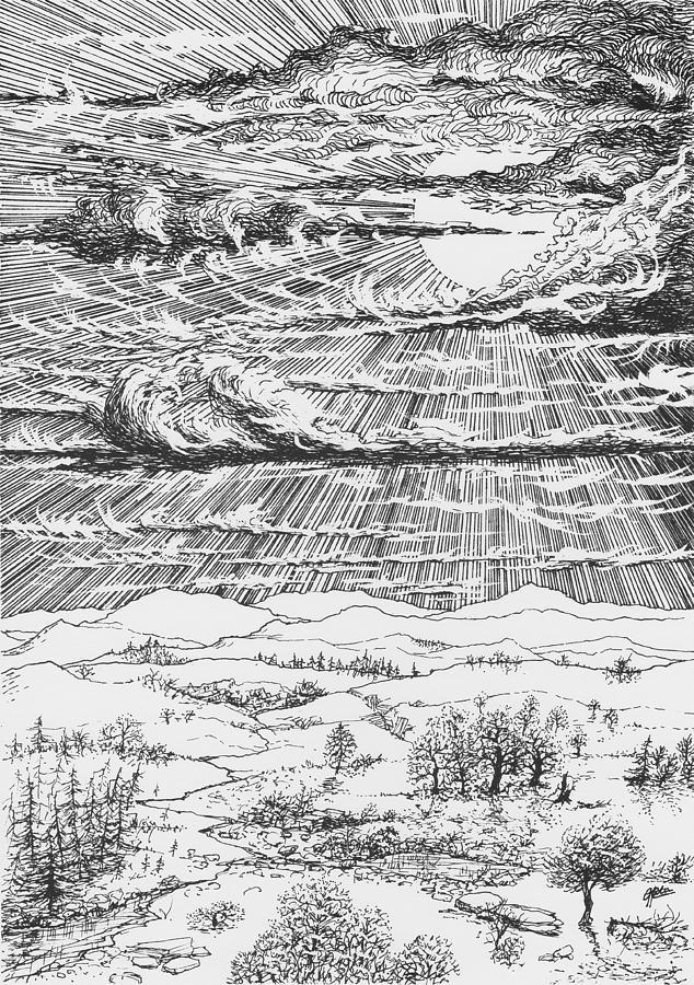 Looming Snowstorm Drawing