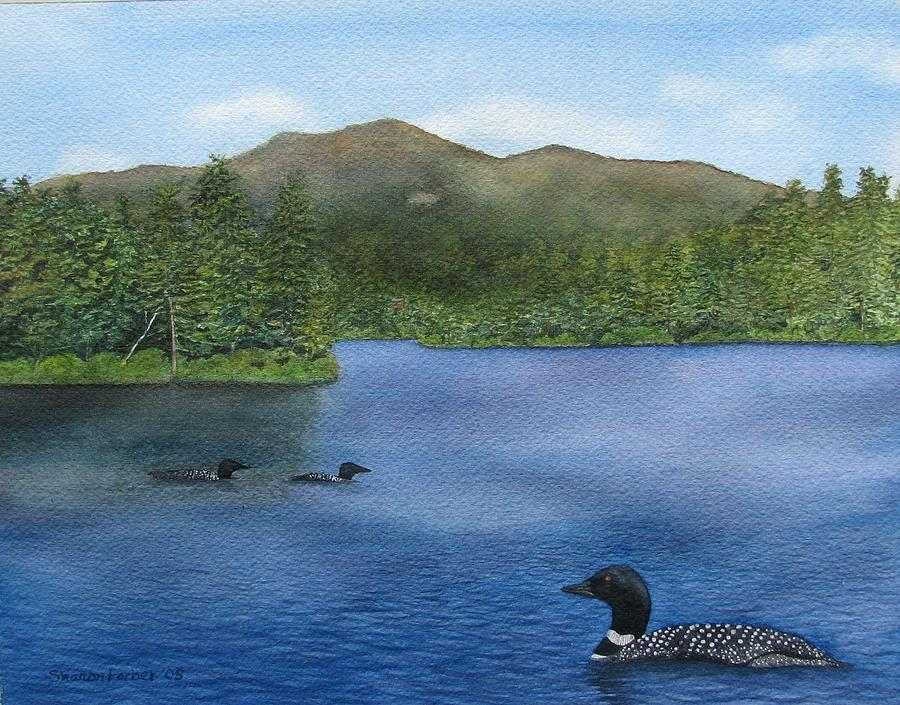 Loon Painting - Loon Lake by Sharon Farber