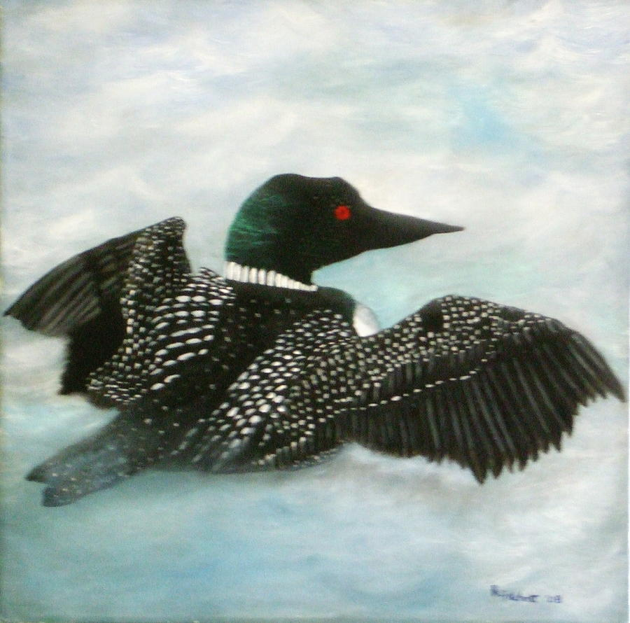 Loon Painting - Loon by Rebecca  Fitchett