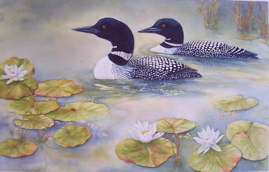 Wildlife Painting - Loons In The Lilies by Cherry Woodbury