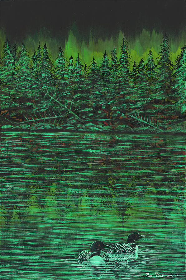 Lake Superior Painting - Loons On Green Water Under Aurora Borealis by Ron Dietman