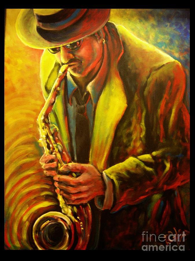 Jazz Painting - Loose Sax by Brett Caplinger