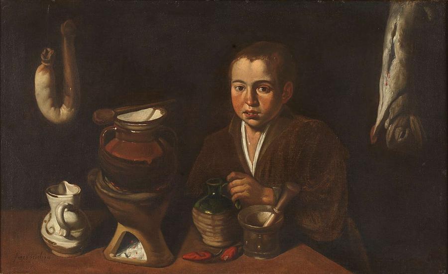 Girl Painting - Lopez Caro, Francisco 1598, 1661 Kitchen Boy Ca. 1620 by Lopez Caro Francisco