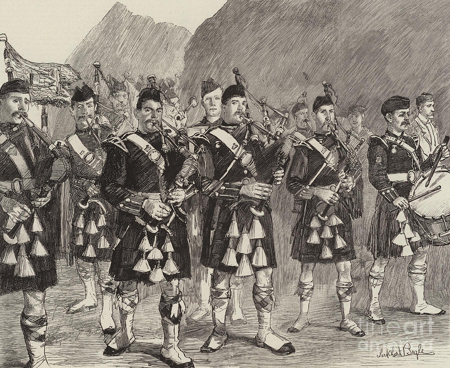 Engraving Drawing - Lord Archibald Campbell And His Pipers Marching Through The Pass Of Glencoe by William Lockhart Bogle