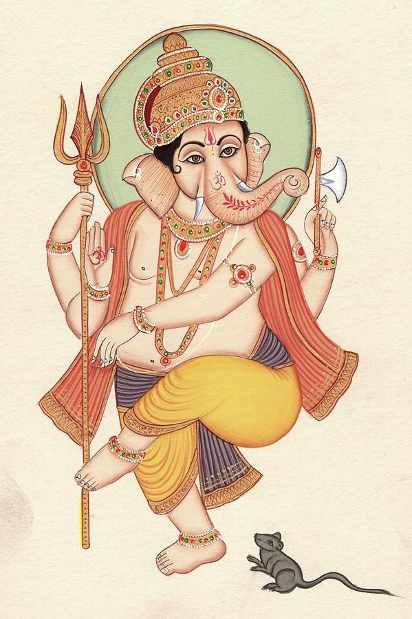 Lord Ganesh Indian Miniature Painting Hindu God Ganesha Ethnic Handmade Artwork Painting By Artnindia