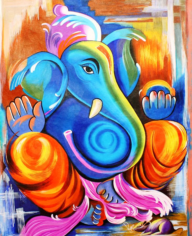 Lord Ganesh Painting By Rupa Prakash