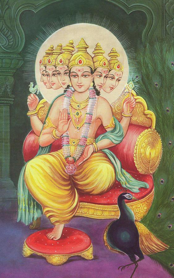 Lord Kartikeya Hindu God Murugan Miniature Paintings Of India Online Art Gallary Mitra Painting