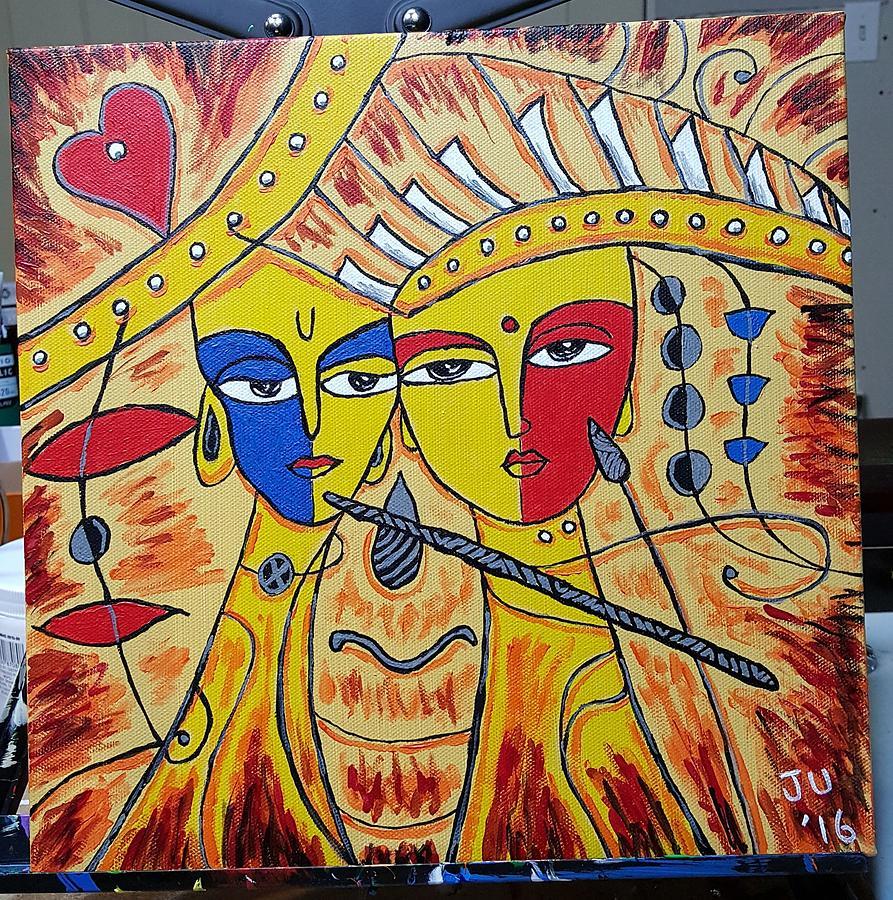 Lord Krishna And Radha Ma Digital Art by Naveen Sharma