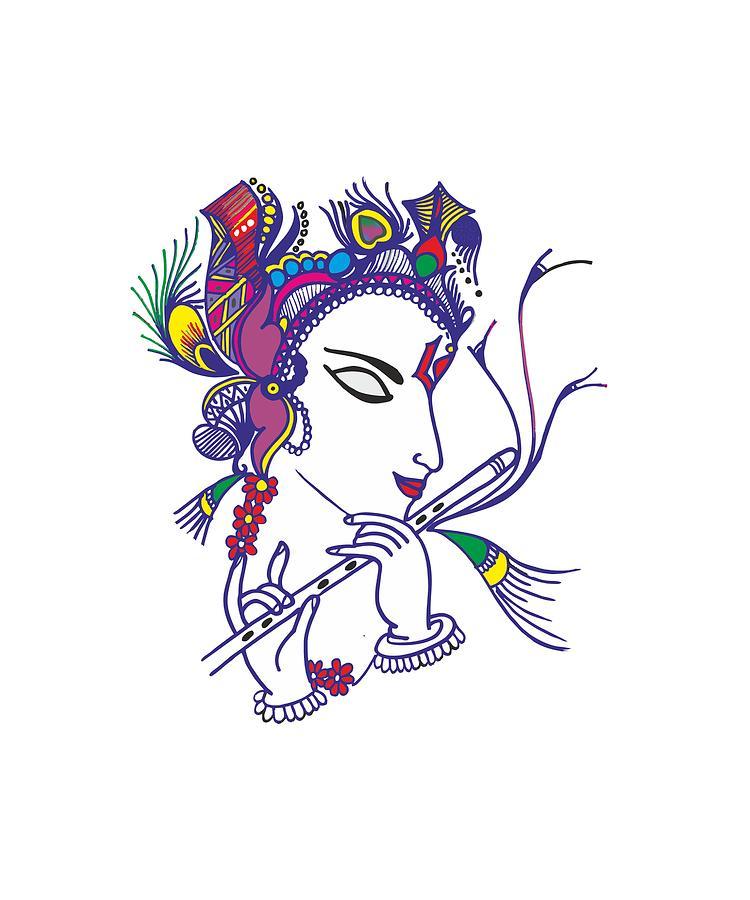 Lord Krishna Drawing By Karishma Rajbhoj