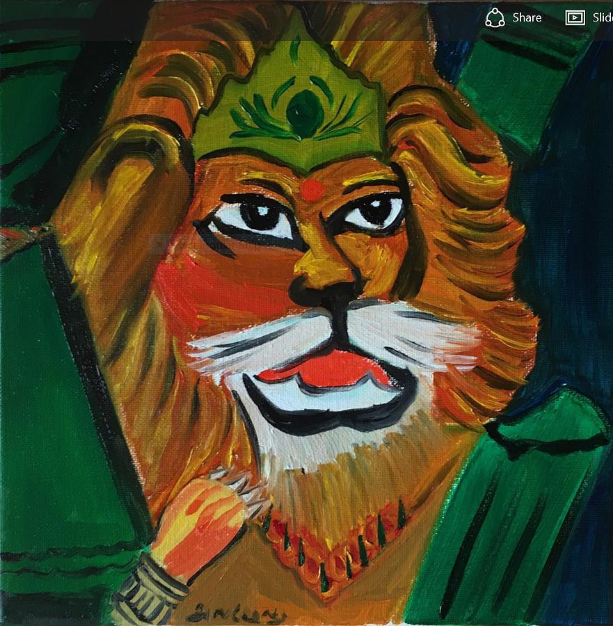 Lord Narasimha Painting - Lord Narasimha emerging from pillar by Ramya Sundararajan