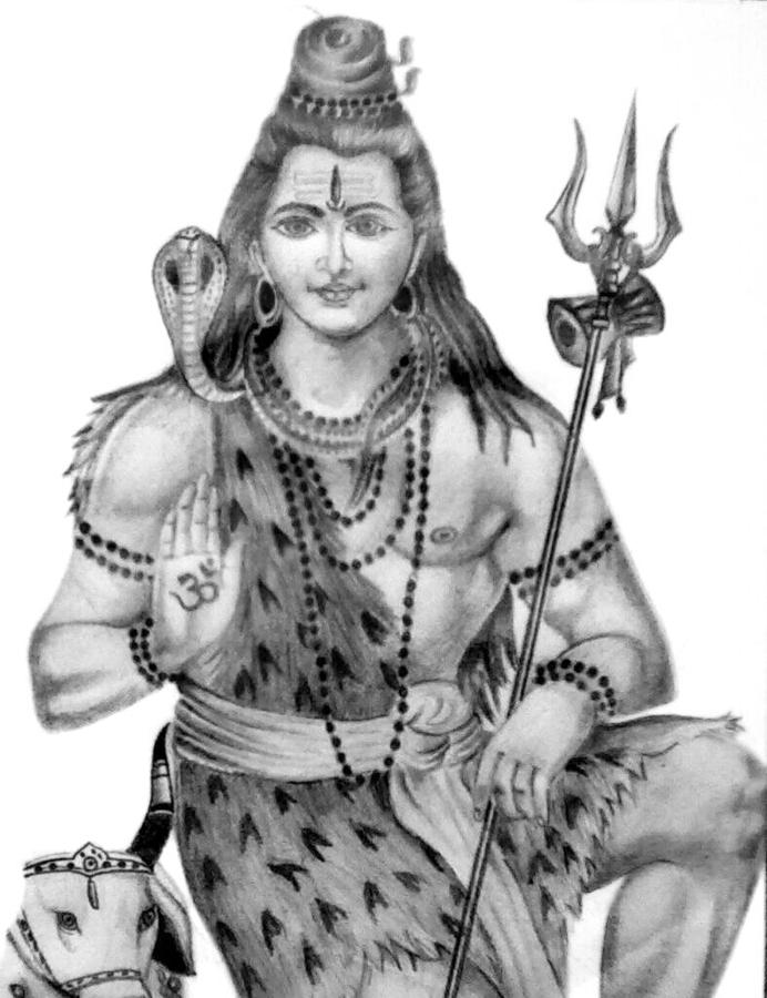 Lord Shiva Drawing by Arun P Raj