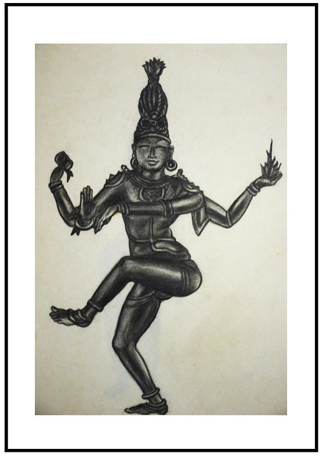 Indian Drawing - Lord Shiva by Dayalan Oviyan