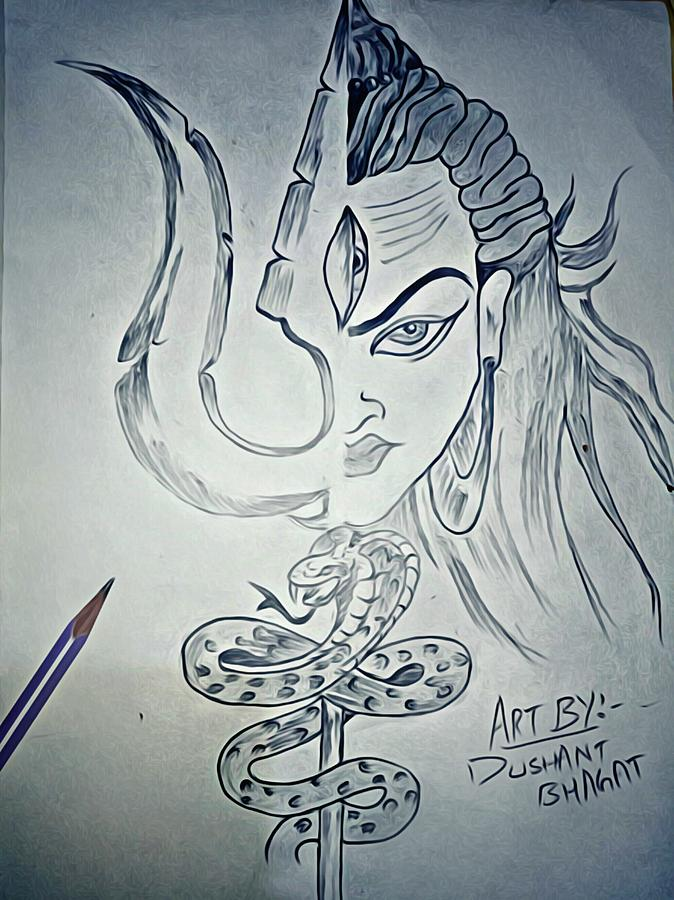 Lord Shiva Drawing By Dushant Bhagat