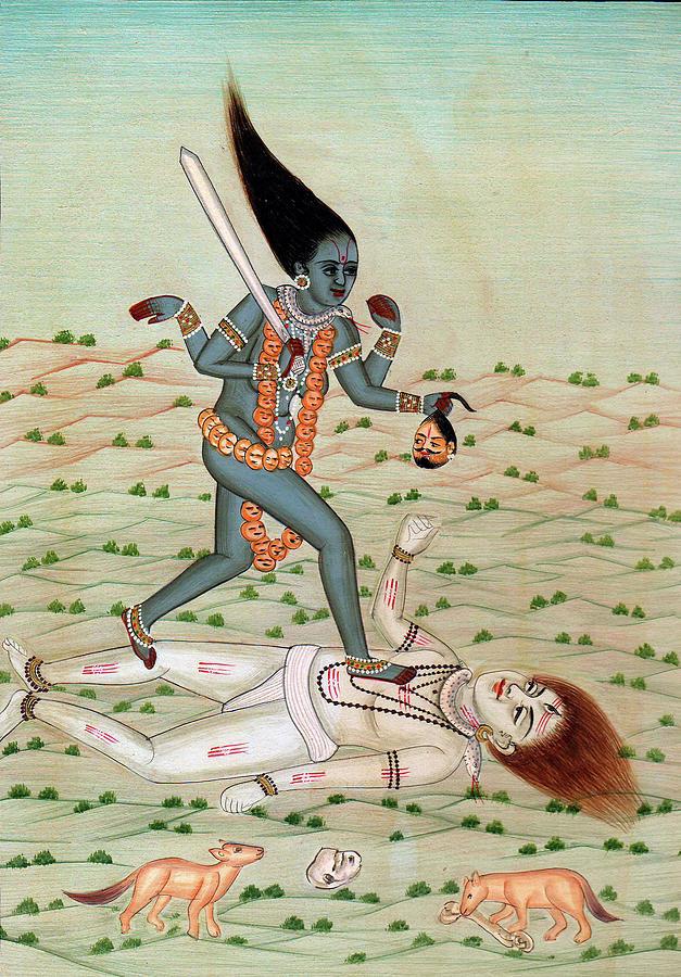 Lord Shiva Under The Feet Of Maa Kaali Indian Miniature Painting Watercolor  Artwork Desert Animals