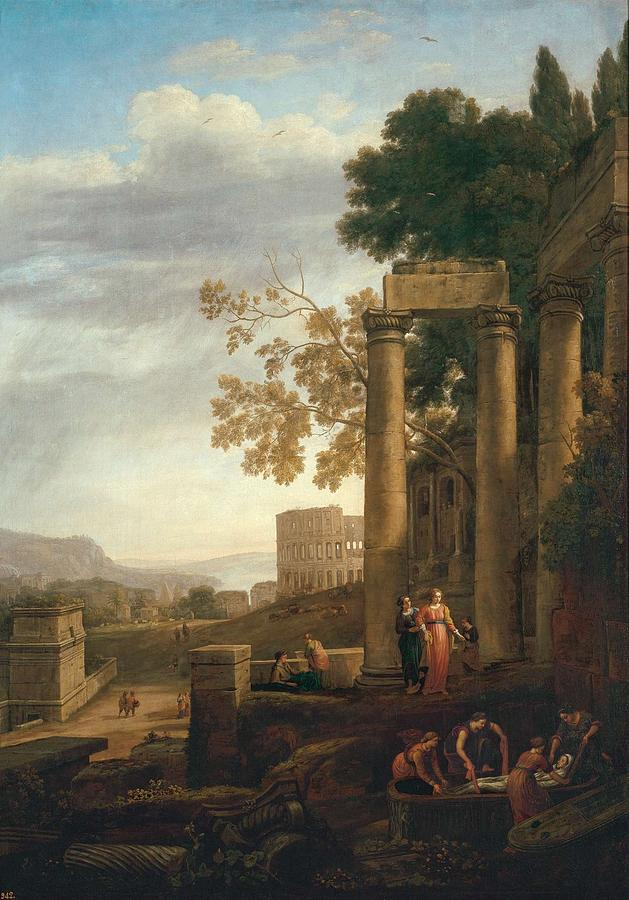 Nature Painting - Lorena, Claudio De Chamagne, 1600 - Roma, 1682 Landscape With The Burial Of Saint Serapia Ca. 1639 by LORENA CLAUDIO DE Chamagne