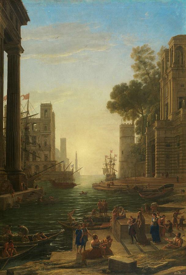 Nature Painting - Lorena, Claudio De Chamagne, 1600 - Roma, 1682 The Embarkation Of Saint Paula Ca. 1639. by LORENA CLAUDIO DE Chamagne