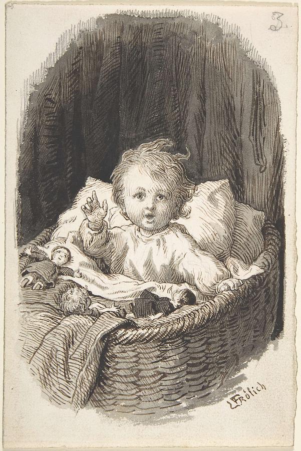 Girl Painting - Lorenz Frolich Danish, Copenhagen 1820-1908 Hellerup, Child In A Crib by Lorenz Frolich