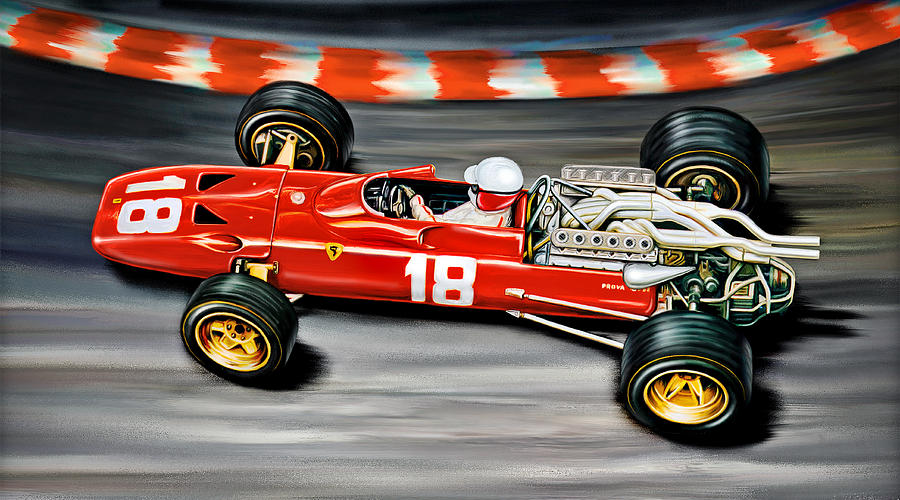 Lorenzo Digital Art - Lorenzo Bandini Ferrari F-1 by David Kyte